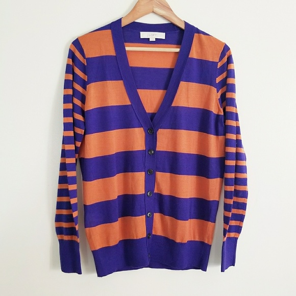 LOFT Sweaters - Ann Taylor LOFT Button Up Striped Cardigan Size M
